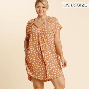 Umgee Plus Apricot Dalmatian Print Dress